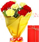 send 8 Red n Yellow carnations bouquet delivery