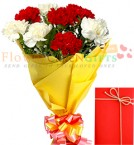 send Bouquet of 8 Red n White carnations delivery