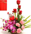 send Sweet Inspiration Bouquet Teddy Card delivery