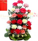 send 24 Mix Color Carnations in Basket delivery