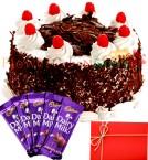 send Half Kg Black Forest Cake Chocolate n Card delivery