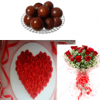 send 1 Kg 500gms Roses Cake 500gms gulab jamun pack and 10 Red Roses Bunch delivery