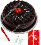 send Half Kg Chocolate Cake Candle Greeting Card delivery
