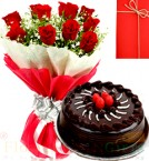 send Half Kg Eggless Chocolate Cake N 10 Red Roses Bouquet n Greeting Card delivery