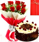send Half Kg Eggless Black Forest Cake N 10 Red Roses Bouquet n Greeting Card delivery