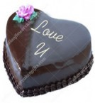 send 1Kg Eggless Heart Shaped Chocolate Truffle Cake delivery