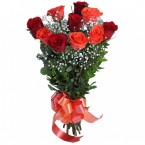 send Hand Tied Bunch of 5 Red And 5 Orange Roses delivery