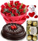 send chocolate cake rose bouquet ferrero rochher chocolate and teddy bear delivery