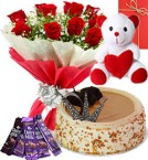 send Half Kg Butterscotch Cake Red Roses Bouquet Chocolate  Teddy N Greeting Card delivery