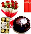 send Half Kg Chocolate Cake Red Roses Bouquet 16 Pcs ferrero rocher  Chocolate delivery