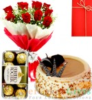 send Half Kg Butterscotch cake Red Roses Flower Bouquet Ferrero Rocher Chocolate delivery