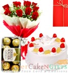 send Half Kg pineapple cake Red Roses Flower Bouquet Ferrero Rocher Chocolate delivery