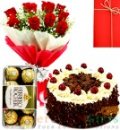 send Half Kg Black Forest cake Red Roses Flower Bouquet Ferrero Rocher Chocolate delivery