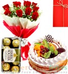 send Half Kg Black fruits cake 10 Red Roses Flower Bouquet 16 Ferrero Rocher Chocolate delivery