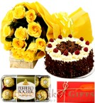 send Half Kg Black Forest cake Yellow Roses Flower Bouquet Ferrero Rocher Chocolate delivery