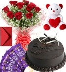 send 10 Red Roses Flower Bouquet 500gms chocolate truffle cake Chocolate  teddy Bear Greeting Card delivery