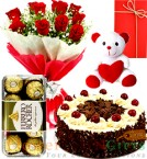 send Half Kg Black Forest  Cake  Red Roses Bouquet Chocolate Teddy Bear delivery