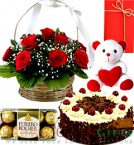 send 500gms Black Forest Cake Roses Basket  Teddy Ferrero Rocher Gifts delivery