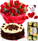 send 500gms Black Forest Cake Red Rose Bouquet  Ferrero Rochher Chocolate Teddy Bear delivery