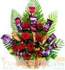 send Roses Flowers Cadbury dairy milk Chocolate Bouquet delivery