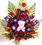 send Best Teddy  Roses n Cadbury dairy milk Chocolate Bouquet delivery