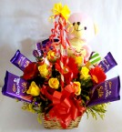 send Teddy Roses Cadbury dairy milk Chocolate Bouquet delivery