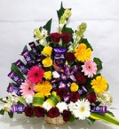 send  Mix Flowers Cadbury Dairy Milk Chocolates Bouquet delivery