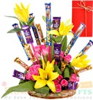 send Lilies Roses Cadbury Dairy Milk 5 Star Perk Chocolates Bouquet  delivery