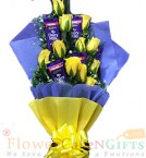 send Yellow Roses n Chocolate Bouquet delivery