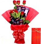 send Greeting Card Rose n Chocolate Bouquet delivery