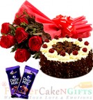 send Half Kg Black Forest Cake Round Shape  Red Roses Bunch Dairy Milk Chocolate delivery