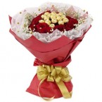 send roses and ferrero rocher chocolates Bouquet delivery