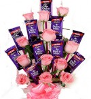 send Arrangement of 12 Pink Roses and 10 Dairy Milk Chocolates delivery