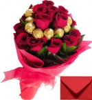 send 16 Red Roses Bouquet n 16 Ferrero Rocher Chocolates Bouquet delivery