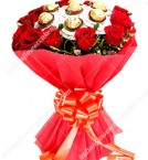 send Red Roses Bouquet n Ferrero Rocher Chocolates delivery