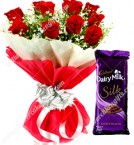 send  Red Roses Dairy Milk Silk Chocolates Bouquet delivery