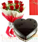 send 1kg Heart Shaped Chocolate Cake with Red Roses Bunch delivery