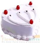 send 2Kg Heart Shape Vanilla Eggless Cake delivery