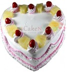send 1 Kg Pineapple Cake Heart Shaped Card delivery