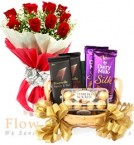 send Assorted Chocolate Hamper Bouquet delivery