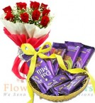 send  Gift Hamper of Dairy Milk Chocolate n  Bouquet delivery
