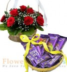 send  Gift Hamper of Dairy Milk Chocolate n Flower Basket delivery