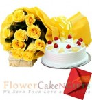 send Yellow Roses n Half Kg Pineapple Cake Perfect Combo to Gift delivery