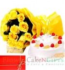 send 1Kg Pineapple Cake n Yellow Roses Perfect Combo to Gift delivery
