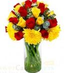 send carnation n roses flower vase delivery