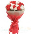 send 20 Red n White Carnations Flower bouquet delivery
