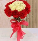 send 16 Red Yellow Carnations Flower bouquet delivery
