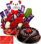 send Eggless Half Kg Chocolate truffle Cake n Special teddy Roses Flower Chocolate Bouquet delivery