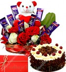 send 1Kg Eggless Black Forest Cake n Special teddy Roses Flower Chocolate Bouquet delivery