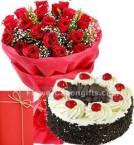 send Half Kg Eggless Black Forest Cake 25 Red Roses Bouquet nCard delivery